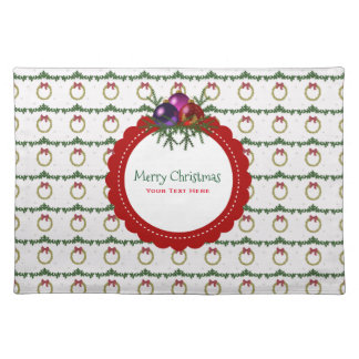 Christmas Wreath Pattern With Holly Custom Placemat