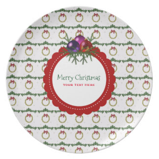 Christmas Wreath Pattern With Holly Custom Plate
