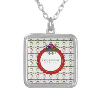 Christmas Wreath Pattern With Holly Custom Silver Plated Necklace