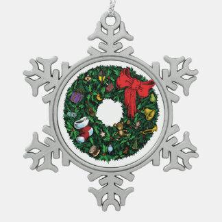 Christmas Wreath Pewter Snowflake Decoration