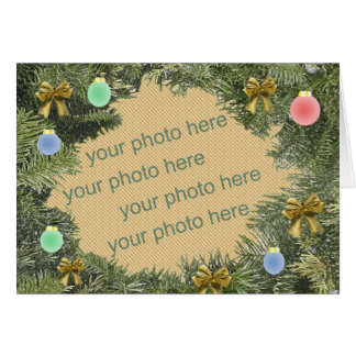 Christmas Wreath Photo Frame Greeting Card