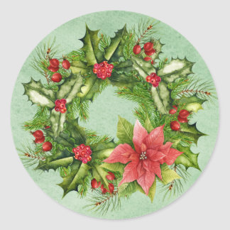 Christmas Wreath Postage Stamp Classic Round Sticker