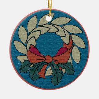 Christmas Wreath - Raw Silk Texture (Personalized) Round Ceramic Decoration