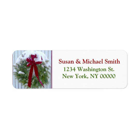 Christmas Wreath Red Bow Snow Covered Evergreen