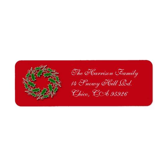 Christmas Wreath Return Address Label