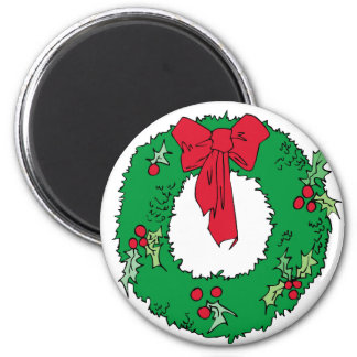 Christmas Wreath Shirts and Gifts Fridge Magnets