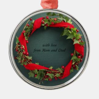 Christmas wreath, velvet ribbon premium ornament