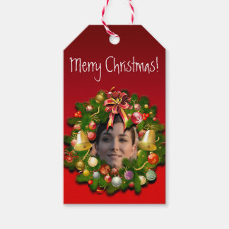 Christmas Wreath With Any Photo In The Middle Gift Tags