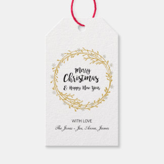 Christmas wreath with silver glitter snowflakes gift tags