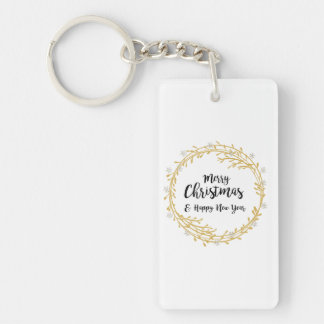 Christmas wreath with silver glitter snowflakes key ring