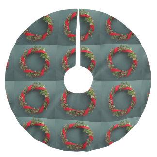 Christmas wreath with velvet ribbon brushed polyester tree skirt