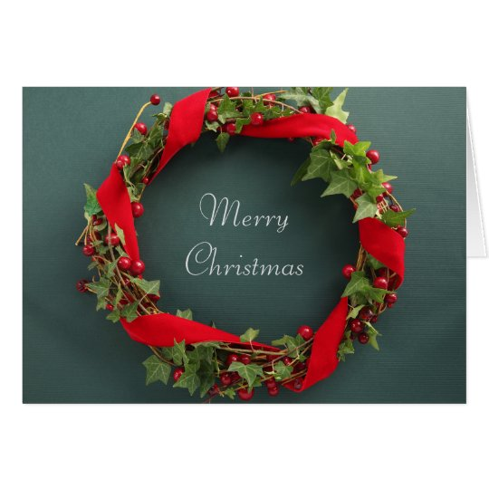 Christmas wreath with velvet ribbon card