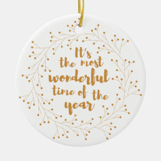 Christmas wreath wonderful time - golden christmas ornament