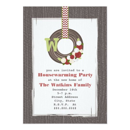 Christmas Wreath Wood Inspired Housewarming Party Card