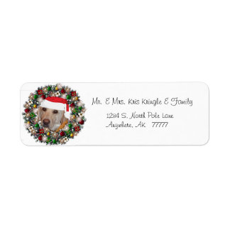 Christmas Wreath Yellow Labrador Address Label