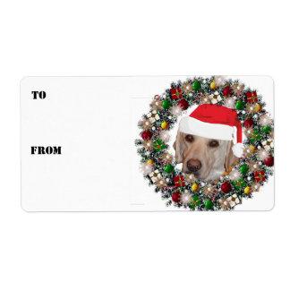 Christmas Wreath Yellow Labrador Gift Labels