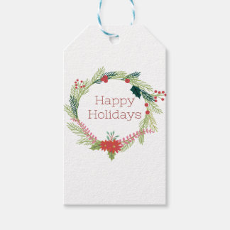 Christmas Wreaths Happy Holidays Gift Tags