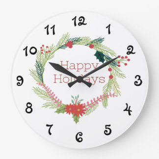 Christmas Wreaths Happy Holidays Large Clock