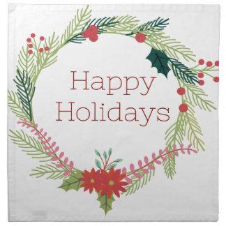 Christmas Wreaths Happy Holidays Napkin