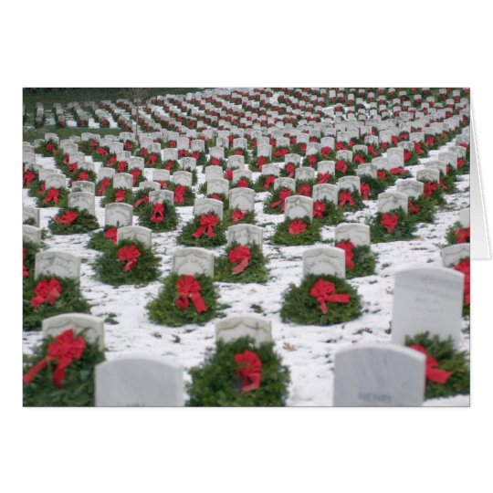Christmas wreaths snow Arlington National Cemetery Card