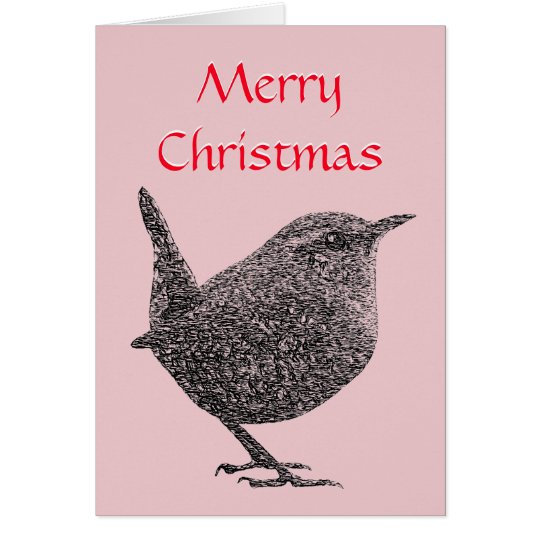 Christmas Wren Greeting Card (Red Script)
