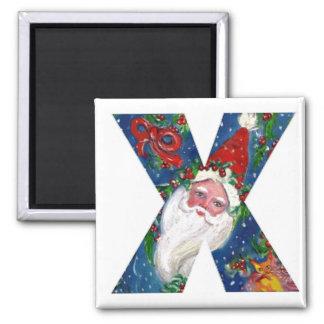 CHRISTMAS X LETTER / SANTA  RED RIBBON MONOGRAM SQUARE MAGNET