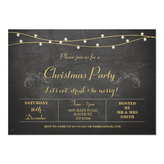 Christmas Xmas Holidays Party Gold Chalk Invite