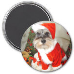 Christmas X'Mas Miniature Schnauzer 7.5 Cm Round Magnet