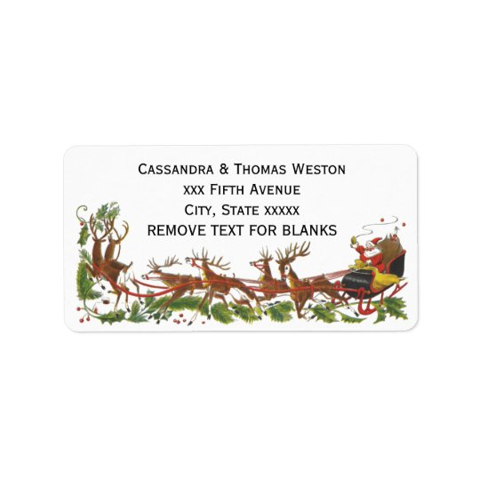 Christmas Xmas Santa Sleigh Reindeer Border Label