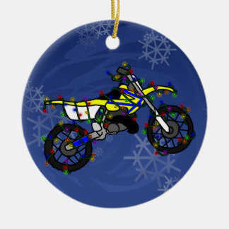 Christmas Yellow Dirt Bike Ornament