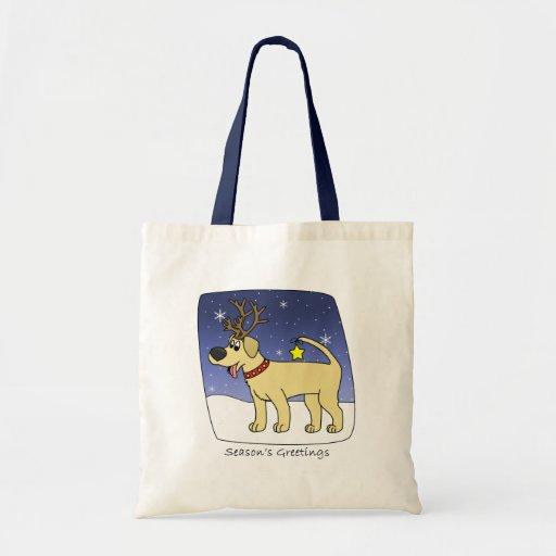 Christmas Yellow Lab Tote Bag