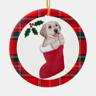 Christmas Yellow Labrador Puppy Tartan Round Ceramic Decoration