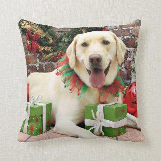 Christmas - Yellow Labrador - Strider Throw Pillow