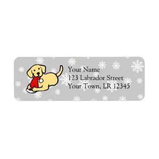 Christmas Yellow Labradors Cartoon Return Address Label
