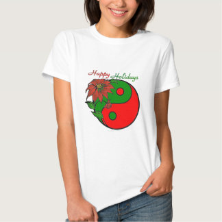 Christmas Yin Yang Poinsettia Tshirts
