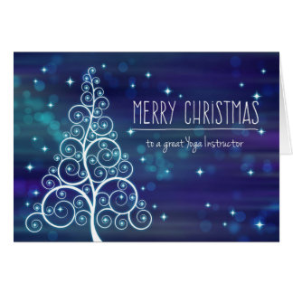Christmas Yoga Instructor, Bokeh Effect & Tree Card