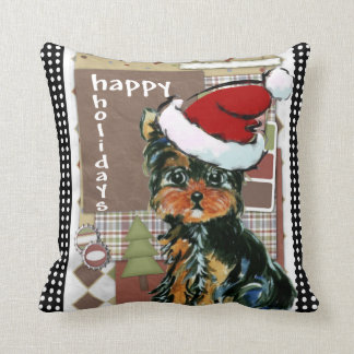CHRISTMAS YORKIE CUSHION