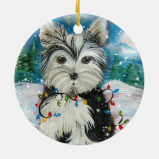 Christmas Yorkie Design Christmas Ornament