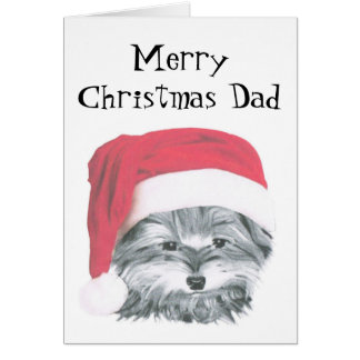 Christmas Yorkie Dog, Merry Christmas Dad Card
