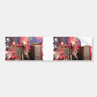 Christmas - Yorkie - Lucy Car Bumper Sticker