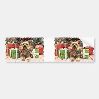 Christmas - Yorkie - Max Car Bumper Sticker