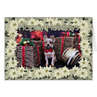 Christmas - Yorkie - Perseus Greeting Card
