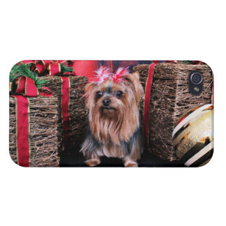 Christmas - Yorkie - T Lei iPhone 4 Cover