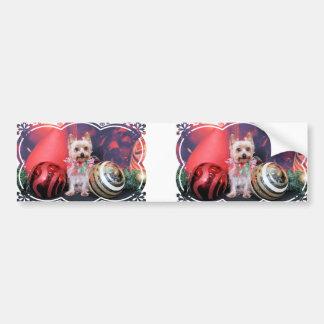 Christmas - Yorkie - Tasha Bumper Sticker