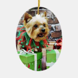 Christmas - Yorkie - Willie Ceramic Oval Decoration
