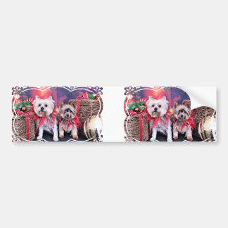 Christmas - Yorkie - Zoe and Dori Bumper Sticker