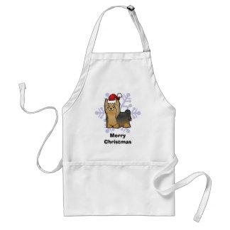 Christmas Yorkshire Terrier (long hair with bow) Standard Apron
