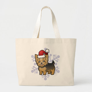 Christmas Yorkshire Terrier (short hair with bow) Large Tote Bag