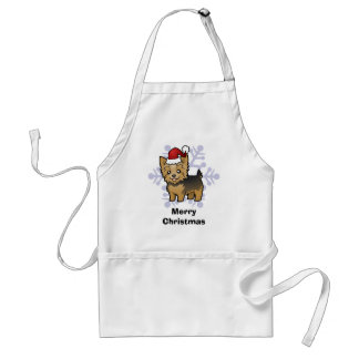 Christmas Yorkshire Terrier (short hair with bow) Standard Apron