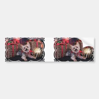 Christmas - Yorkshire Terrier - Vinnie Car Bumper Sticker